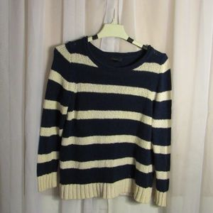 J. Crew Navy Blue and White Striped Sweater